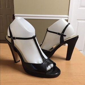 White House Black Market Basketweave T-Strap Heel